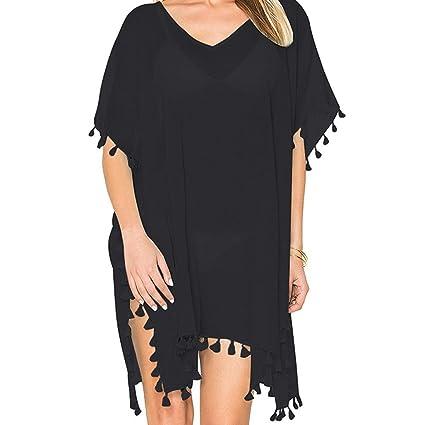 13483fe37d Amazon.com: Women's Chiffon Beachwear with Tassel Cover up Beach ...