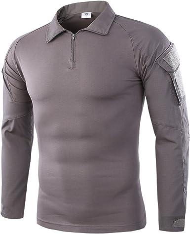 Hombres Airsoft Militar Táctico Camisa Largo Manga Camuflaje Combate BDU Camo Camisetas con Cremallera Gris Medium: Amazon.es: Ropa y accesorios