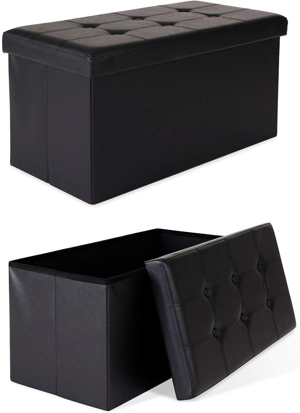 dibea SO00460, Taburete Cofre en Cuero artificial, Box/Caja plegable, Espacio de almacenamiento 80 Litros (76 x 38 x 38 cm, negro): Amazon.es: Bebé