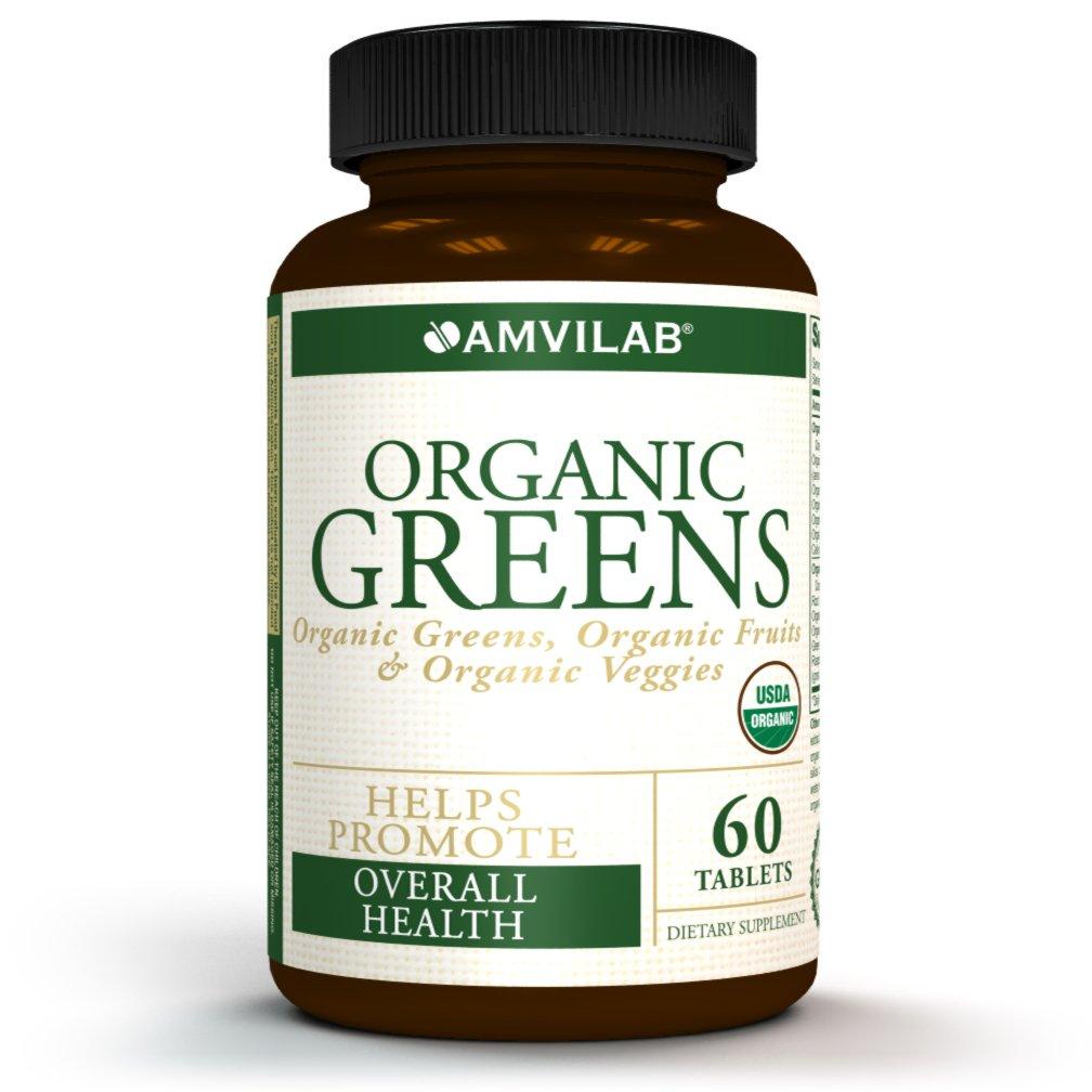 Amvilab Organic Greens, Fruits & Veggies Best Supplement to Boost Energy, Detox, Enhance Health. USDA Organic, Gluten Free, Vegan, Non-GMO, No. 1 Source of Essential Nutrient-Rich Superfood 60 Tablets