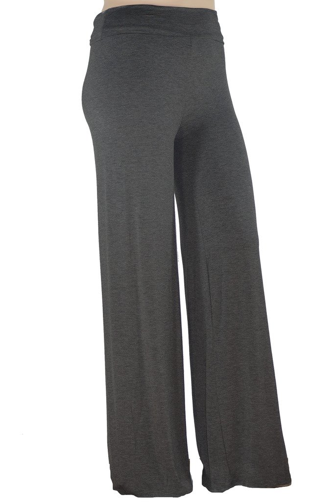Stylzoo Women's Plus Size Stretchy Comfy Palazzo Solid Color Pants Super Model Grey 1X