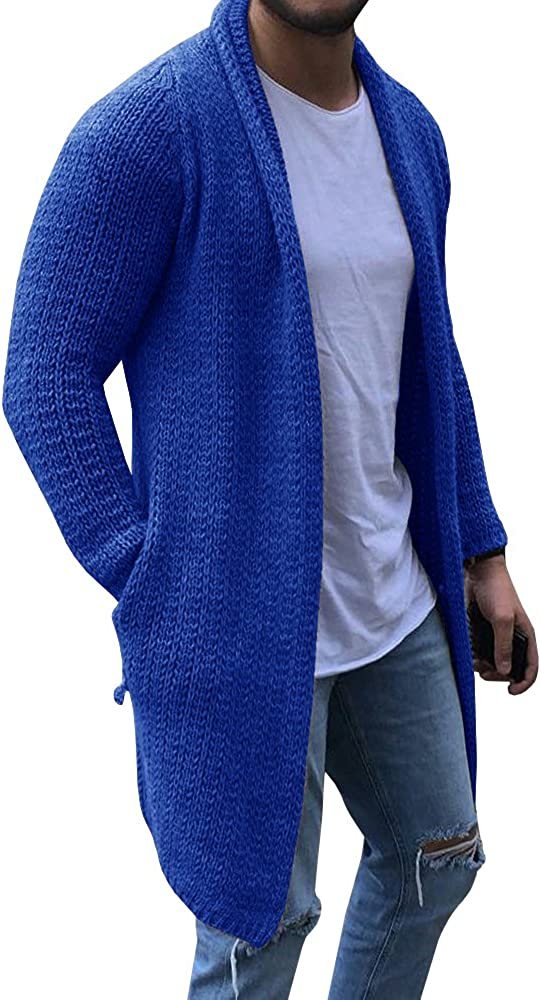 NIUBIA Mens Shawl Collar Cable Knit Open Front Cardigan Sweaters Ribbed Long Sleeve Sweater with Pockets