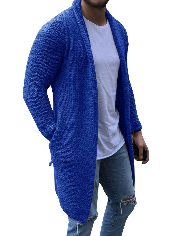 Enjoybuy Mens Shawl Collar Cable Knit Open Front Ribbed Long Sleeve Cardigan Sweater with Pockets