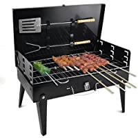 VelKro Stainless Steel Portable Briefcase Style Folding Barbecue Grill Toaster (Medium, Black)