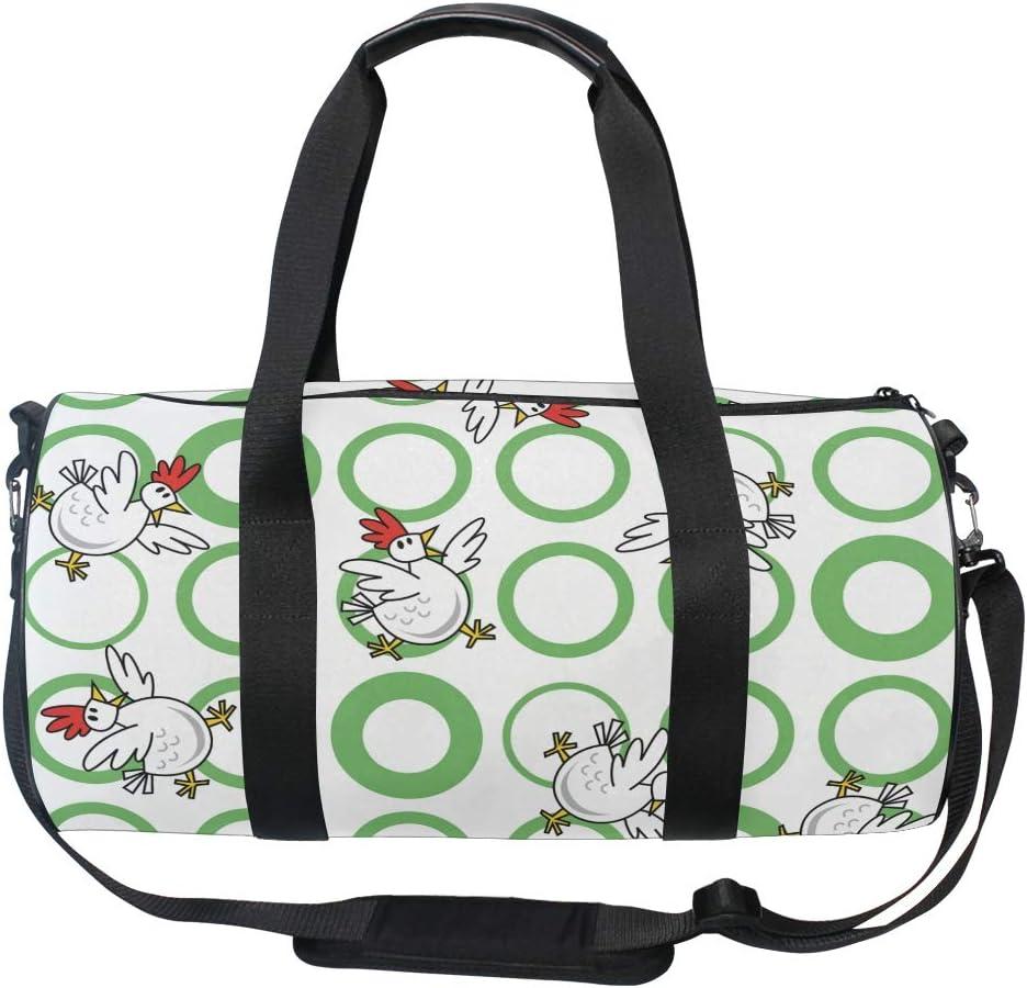 MALPLENA Crowing Rooster Drum gym duffel bag women Travel Bag