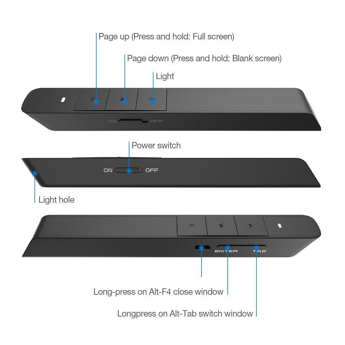Bluebeach Wireless Wiederaufladbare Usb Presenter Magic Mouse 24ghz Compatible For Laptop Pc Mac Windows 7 10 Black Doff Elektronik