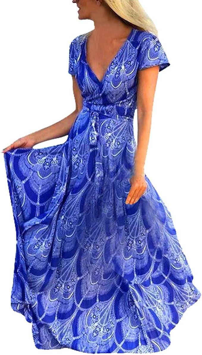 sunnymi Frauen Kleider Loose Print Kurzarm Langes Kleid Maxi