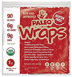 Paleo Wraps USDA Organic 7 Individual Wraps GlutenFree And Keto