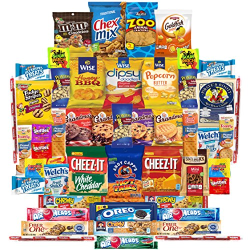 Munchies Care Package Chips Cookies & Candy Includes Goldfish, Oreos, Skittles, Sour Patch, m&m Cookie, Air Heads, Planters Peanuts, Rice Krispies & More (50 (Rice Krispie Halloween Recipes)