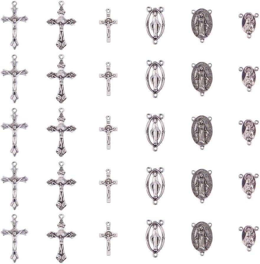 PandaHall Elite 30 Pcs Colgantes de Aleación de Estilo Europeo, Cruz, Plata Antigua, Accesorios para Fabricación de Bisuyería