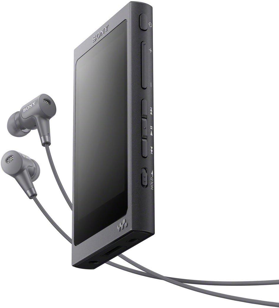 Sony NWA45HN - Reproductor de audio Walkman (16 GB, Hi-res audio, DSD, DSEE HX, S-Master HX, NFC, Noise Cancelling digital, 45 horas de reproducción, incluye auriculares intraurales), negro grisáceo