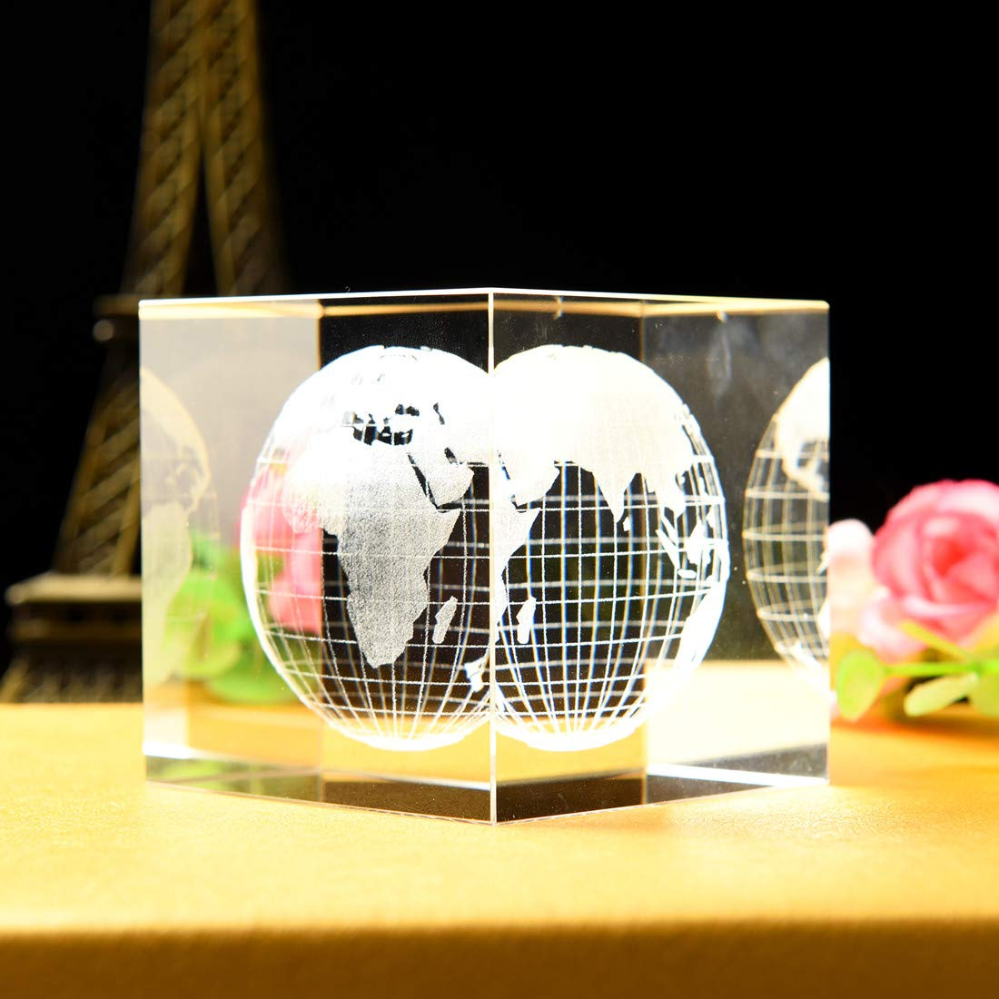 Home and Office Decor Educational Ball with Gift Box 3.15in. AIRCEE Mini Crystal Globe Crystal Ball with Crystal Stand Earth Planet Sphere Glass Ball 80mm