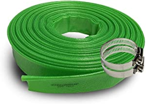 SCHRAIBERPUMP (8 bar 2-Inch by 100-Feet-General Purpose Reinforced PVC Lay-Flat Discharge and Backwash Hose - Heavy Duty (8 Bar) (116 PSI) 2 Clamps Included
