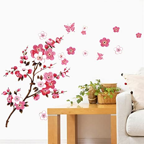 BIBITIME Cherry Blossom Wall Decal Stickers Pink Flying Butterfly Sticker Girl Floral Wall Decor Flower Decals  sc 1 st  Amazon.com & Amazon.com: BIBITIME Cherry Blossom Wall Decal Stickers Pink Flying ...