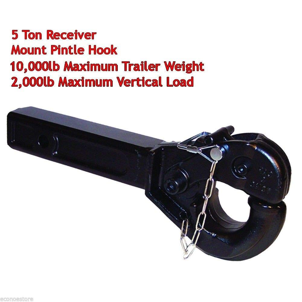 KCHEX>5 Ton Receiver Haul Tow Mount Pintle Hook 2'' Receiver HD Forge Steel 14-1/2''L>for s 10,000lb Maximum Trailer Weight 2,000lb Maximum Vertical Load Heavy Duty Forge Steel Construction Black