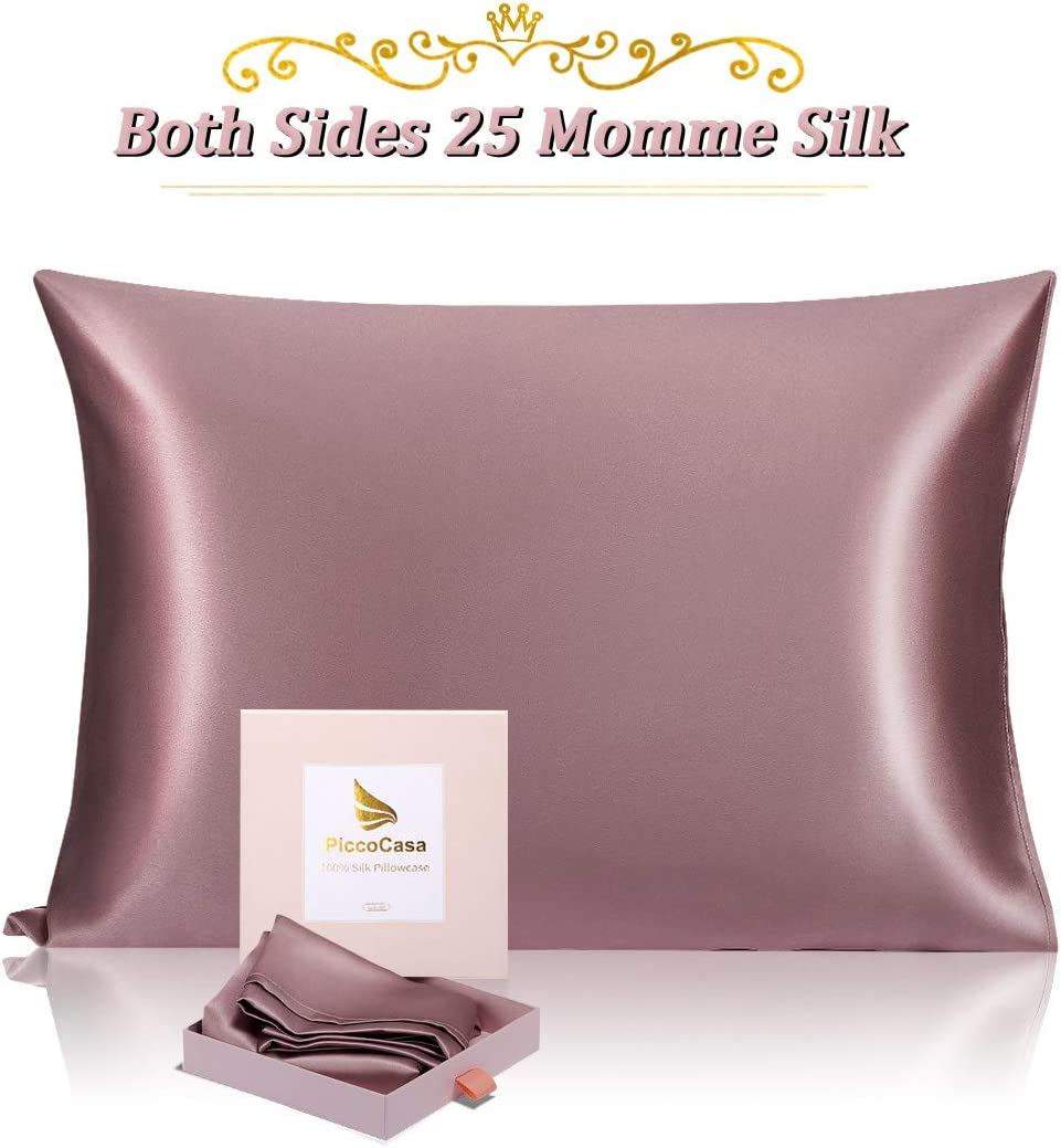 PiccoCasa Funda de almohada de seda para piel y cabello, ambos lados 100% seda natural 25 Momme funda de almohada con cierre de sobre, funda antideslizante súper suave para dormitorio