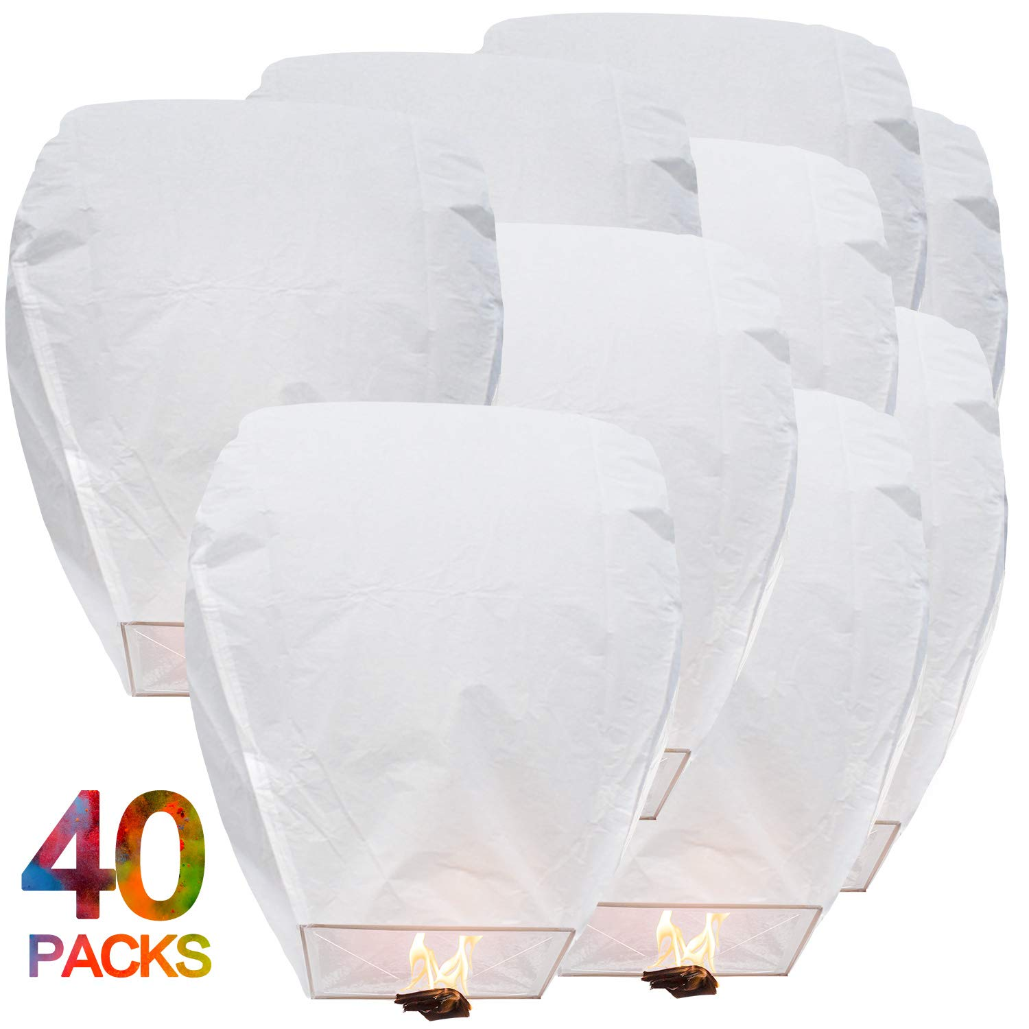 BATTIFE Sky Lanterns Chinese Flying Lanterns Paper Biodegradable Full Assembled 40 Pack White for Party Holiday Memorial Day to Release in Sky by BATTIFE
