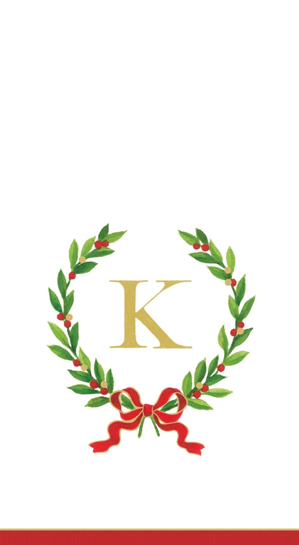 Entertaining with Caspari Christmas Laurel Wreath Paper Guest Towels, Monogram Initial K, Pack of 15
