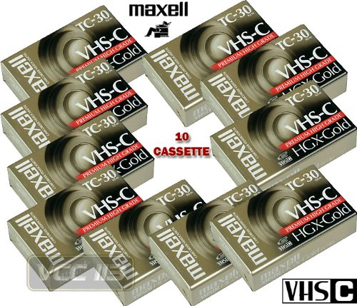 MAXELL LOT 10 NEW FOR PANASONIC, JVC, FUJI, SONY, TC-30 VHS-C VIDEO TAPES CASSETTE TC-30 TC30