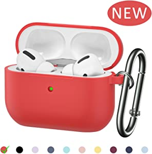 AirPods Pro Carabiner Case Compatible with Apple AirPods Pro Charging Case 2019 Model (Red)