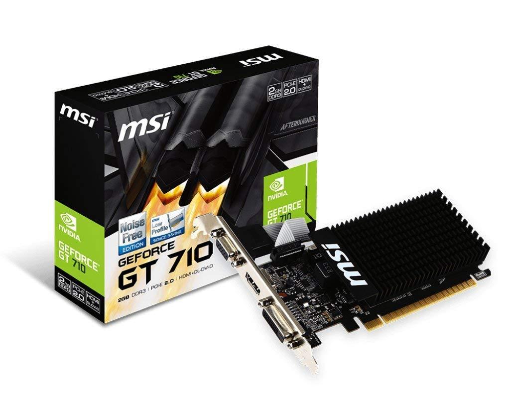 MSI NVIDIA GEFORCE GT 710 2GD3H LP Graphics Card '2GB DDR3, 954MHz, Low Profile, Low Consumption, VGA, DVI-D, HDMI, HTPC, Silent Passive Fanless Cooling System', Black