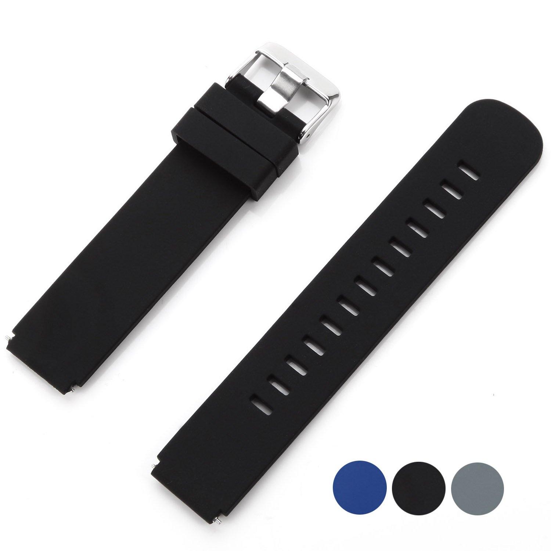 Huawei Watch Band, VIMVIP 18mm Genuine Sport Unisex Silicone Strap Steel Buckle Wrist Watch Band for Huawei Watch (Silcone Black)