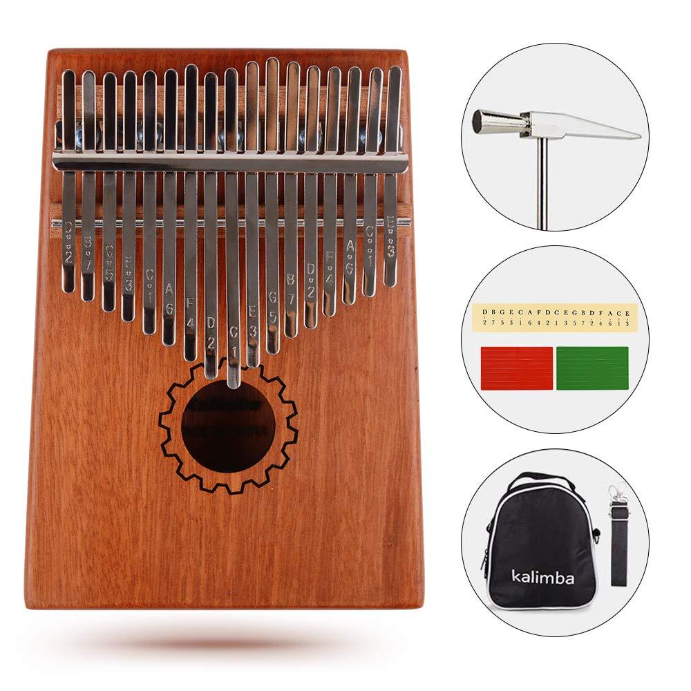 ShengTang Kalimba Thumb Piano 17 Keys with Instruction and Tune Hammer,Case Bag,Portable Finger Piano Solid Mahogany Body
