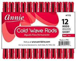 Annie Short Cold Wave Rods with Rubber Band for Hair Curling and Perm Styling - Red - Set of 3 Packs of 12 (36 Pieces)