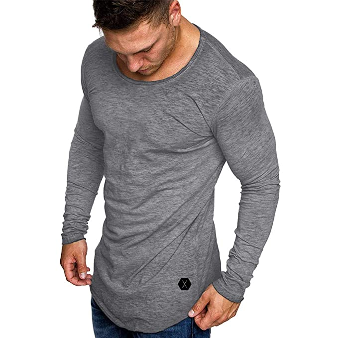 Camiseta Manga Larga O-Cuello para Hombre,♚ Absolute Otoño Moda Casual Slim Fit