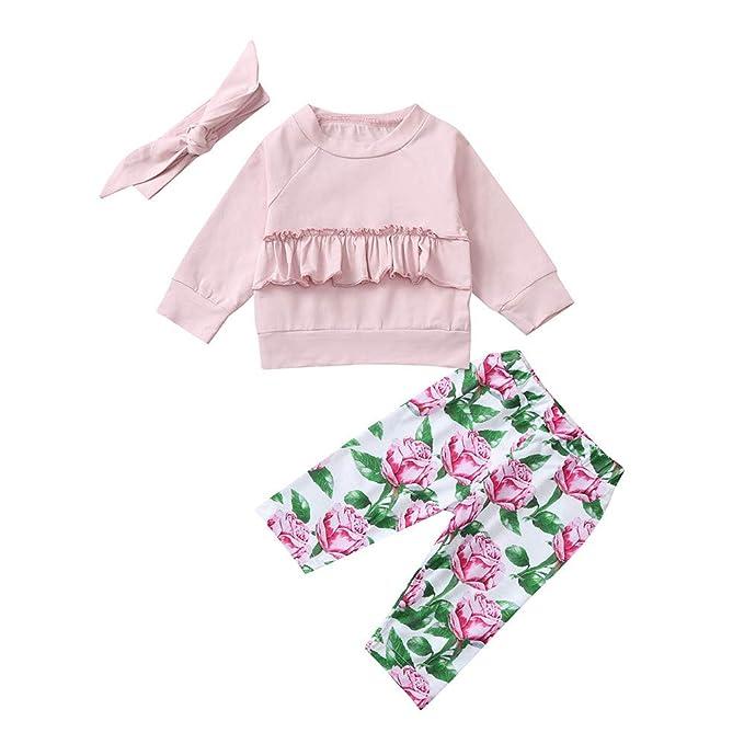 7c7beb597 Mitlfuny Primavera Otoño Blusas Pantalones Conjunto de Ropa Bebé Niña  Plisado Camisetas Recién Nacido Niños Manga Larga Camisas Tops + Florales  Pantalones + ...