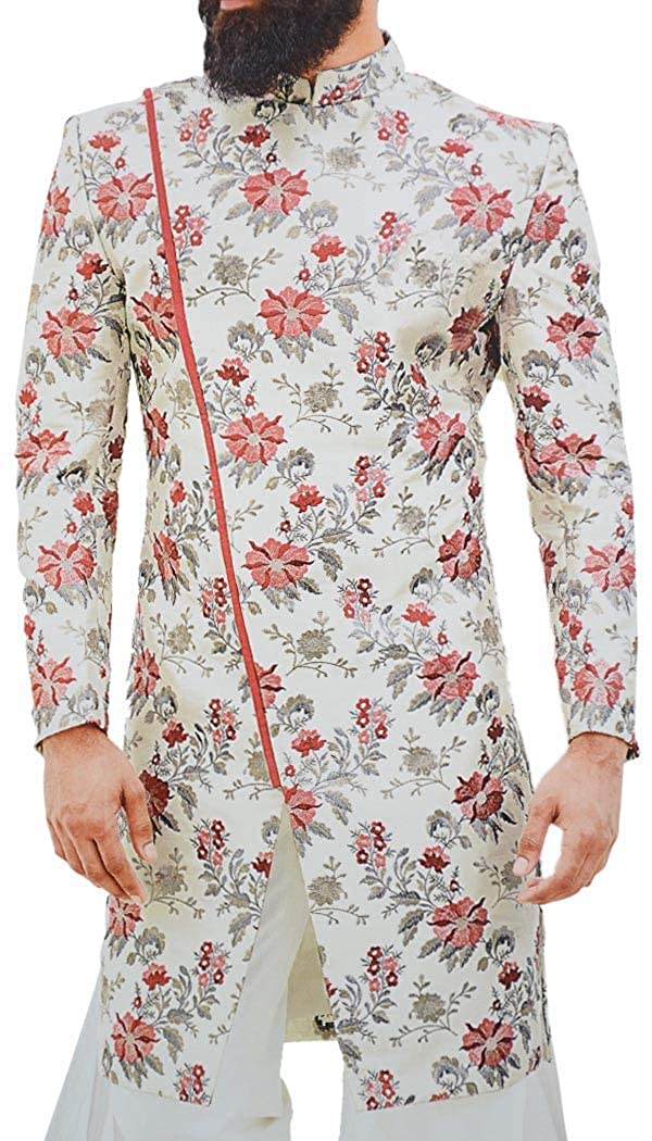 INMONARCH Mens Wedding Cream Sherwani Gray and Pink Embroidery Indo Western Outfit SH1060
