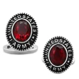 Army: Mens 6ct Oval Cut Simulated Ruby United States Army Cufflinks 316 Steel, 1030