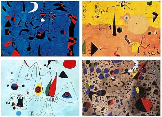 Juego de 4 manteles individuales de mesa, diseño de Joan Miro : Amazon.es: Hogar