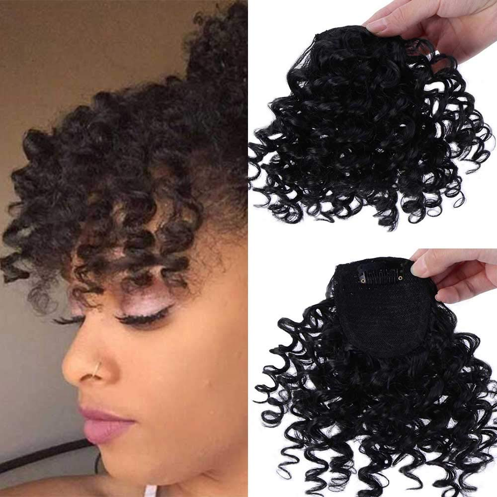 DIFEI Creative 2019 New Afro Kinky Curly Hair Bangs Can Be Hair Closure Chignons Puff Drawstring Ponytail in Hair Extension for Black Women (Bangs) by DIFEI