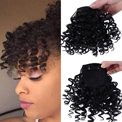 Difei Creative 2019 New Afro Kinky Curly Hair Bangs Can Be Hair Closure Chignons Puff Drawstring Ponytail In Hair Extension For Black Women Bangs