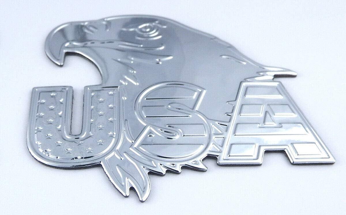 USA Eagle Chrome Finish Decal Emblem Pair 3D Sticker car Bike 2.8 Flexible