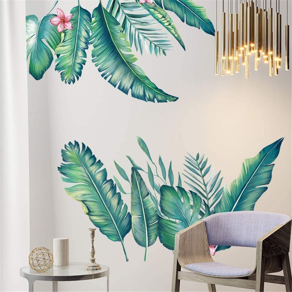 Tropical Leaves Green Plant Wall Stickers PVC Decal Nursery Art Mural Decor Well
