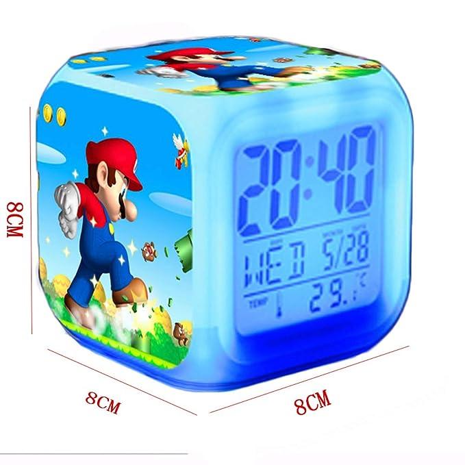 ZhangXF Mario Theme Alarm Clock, 3D Estéreo LED Luz Nocturna ...