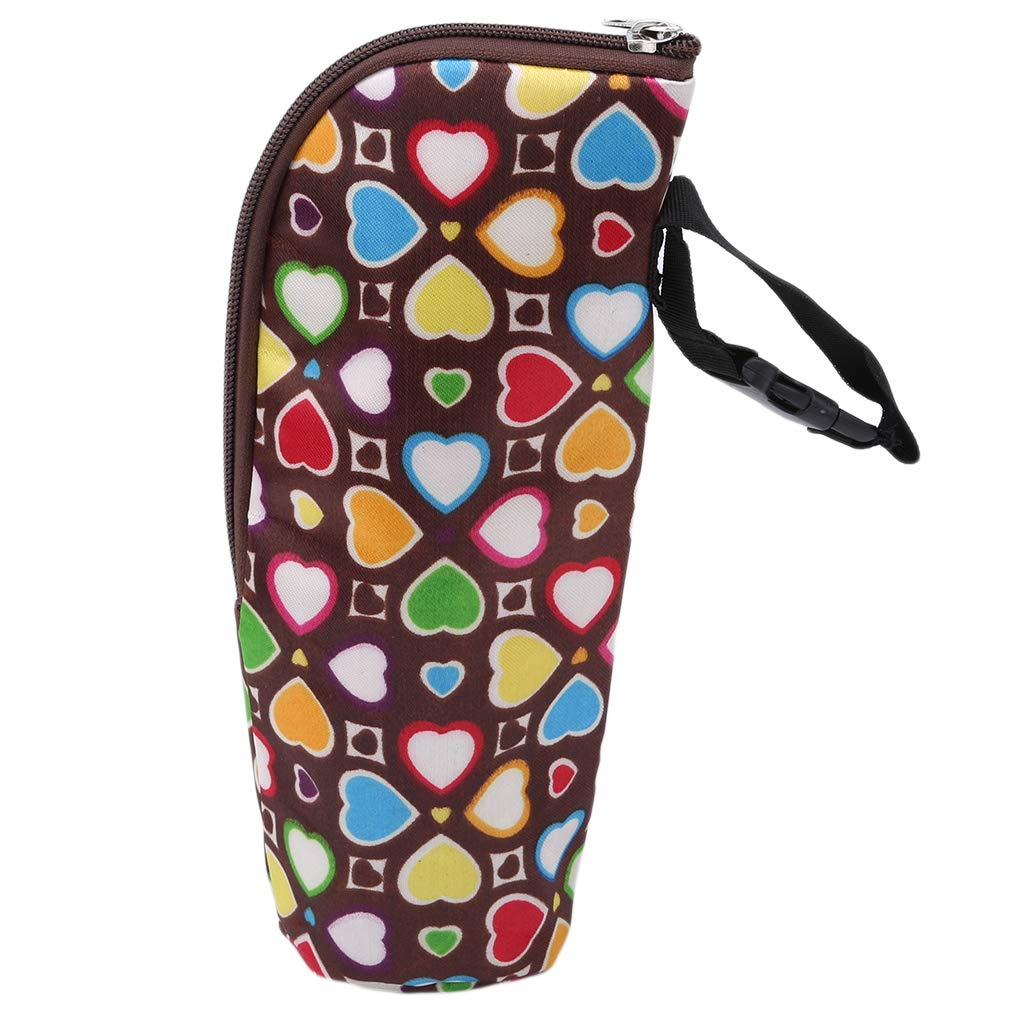 EH-LIFE Baby Bottle Bag Insulated Bag Warmer Thermic Bottles Hangable Stroller Holder Bag Brown Heart Shape 5#