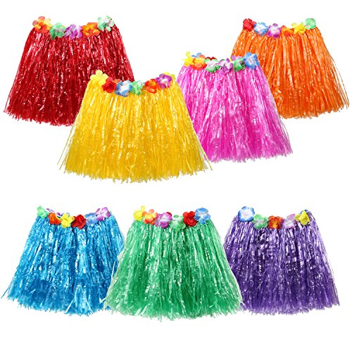 PAMASE 7 PCS Double Layers Hawaiian Hula Grass Skirts for Kids Girls, Great Hibiscus Flower Tropical Luau Party Decoration Supplies Favors