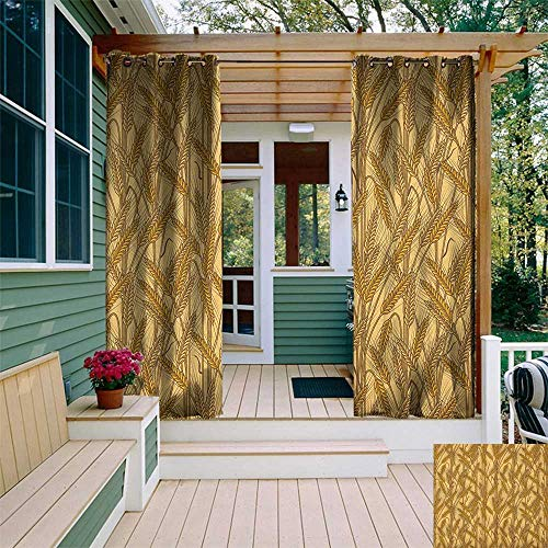 leinuoyi Harvest, Outdoor Curtain Panels Set of 2, Cereal Ears Rural Wheat Rye Field Pattern Agriculture Farmland Country Life, for Patio Waterproof W96 x L96 Inch Mustard Yellow