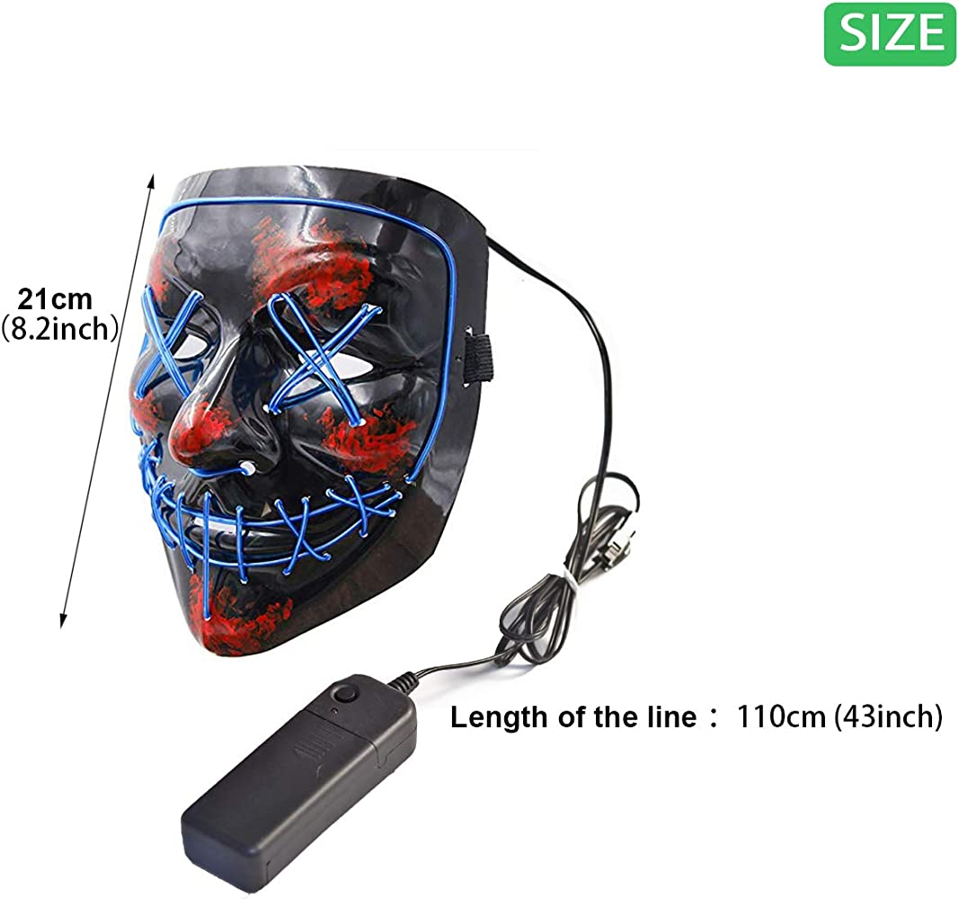 Amazon.com: Halloween Scary Mask with LED Gloves Kit Cosplay ...