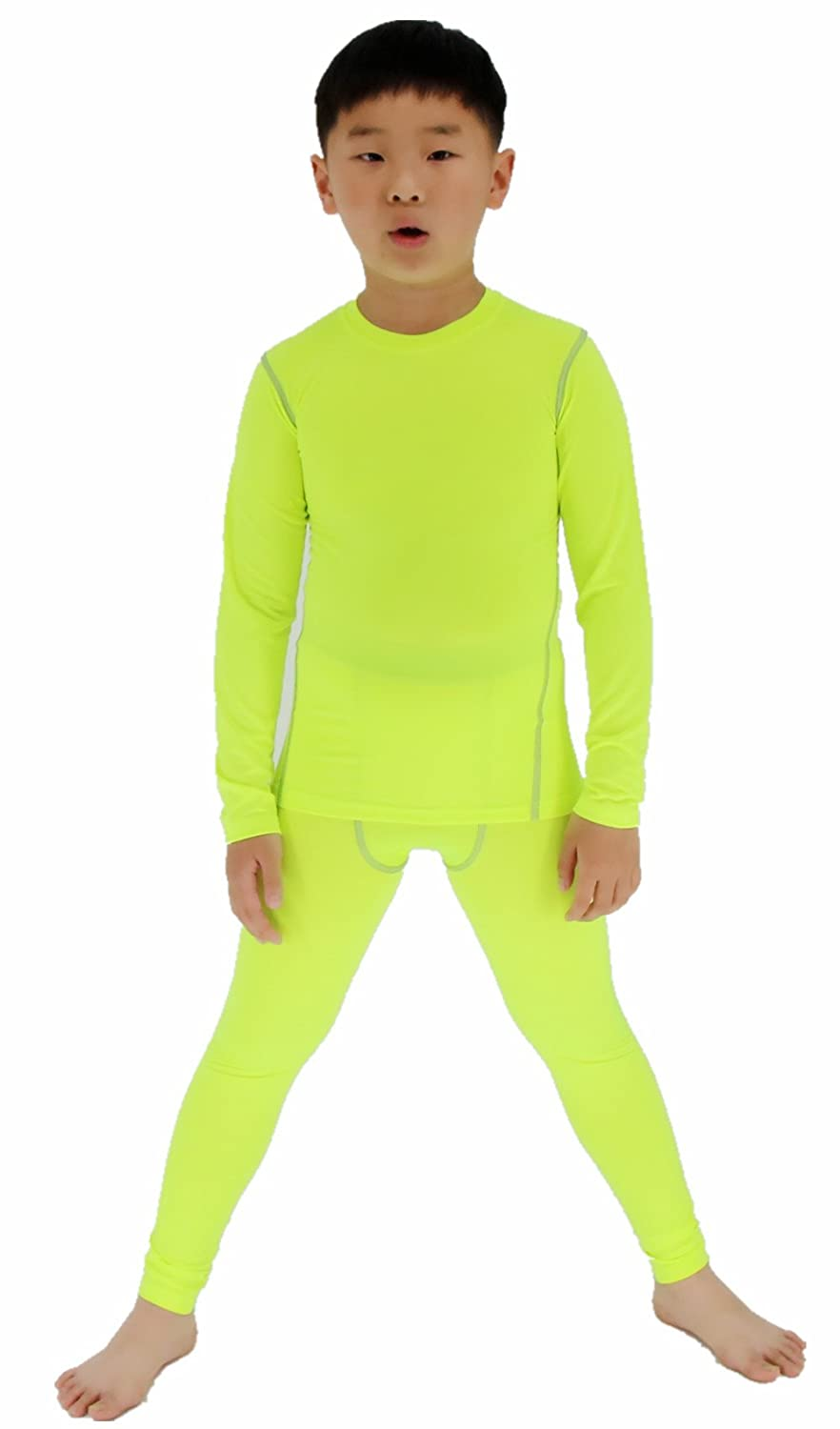 LANBAOSI Boys & Girls Long Sleeve Compression Shirts and Pant 2 Pcs Set Green) SL299-Green set-140