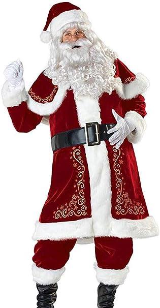 SWHRIOPD Disfraces de Papá Noel para Navidad Traje de Cosplay 8 Piezas para Hombre Adultos