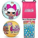 LOL Surprise Dolls Gift Bundle includes (1) L.O.L. Series 1 Diva + (1) Lil Sister Series 3 Wave 2 + 100 Shopkins Stickers + BONUS Action Media Storage Bag!