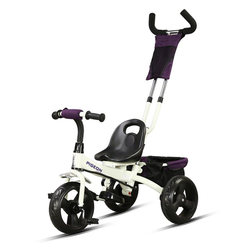 子供の三輪車バイク2-5歳の赤ちゃん/赤ちゃんの自転車トロリー、黄色/ピンク/白、76 * 43 * 110cm ( Color : White ) B07BZNJZN1