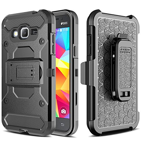 GALAXY WIRELESS for Galaxy J3 Case,GalaxyJ3v Case, J36v Case,Galaxy Sky,Galaxy Express Prime Case,Galaxy Sol,Galaxy Amp Prime,[Impact Resistant] Hybrid Holster Protector Phone Case [Kickstand] - Black
