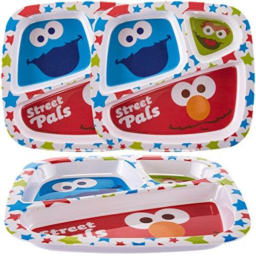 Zak (3 Pack) Disney Sesame Street Character Plastic 3-Section Divided Kids (Elmo Plate)