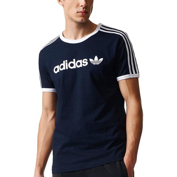 adidas Originals Trefoil Lineal Camiseta - Azul -: Amazon.es: Ropa y accesorios