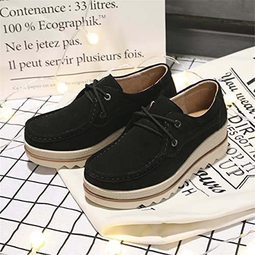 Pictures of HKR Women Lace Up Suede Platform Sneakers 4